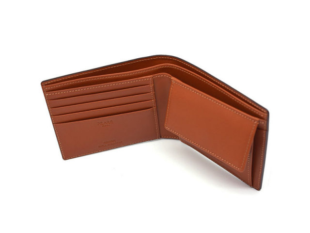 NP53130 コードバン ナチュラルグレージング 二つ折り財布(小銭入れあり)  「プレリーギンザ」 チョコ 内作り