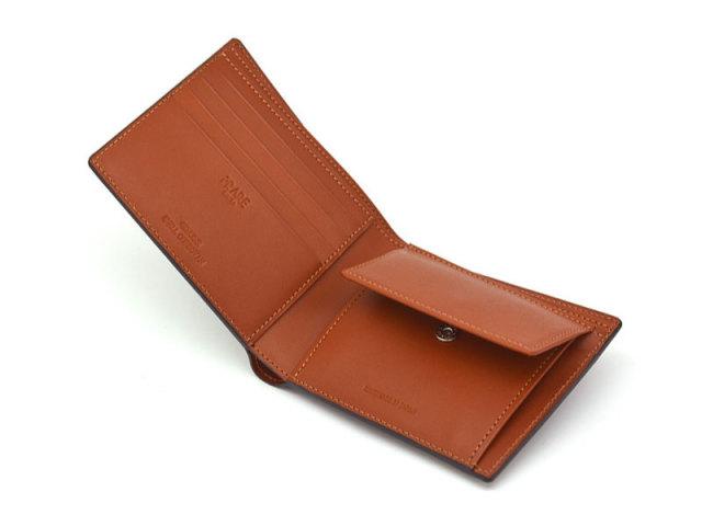 NP53130 コードバン ナチュラルグレージング 二つ折り財布(小銭入れあり)  「プレリーギンザ」 チョコ 内作り2