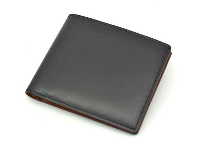 NP53227 コードバン ナチュラルグレージング 二つ折り財布(小銭入れなし)  「プレリーギンザ」 クロ 正面