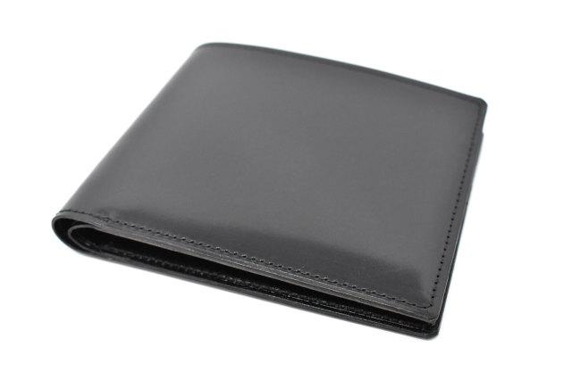 ナチュラルグレージングコードバン 二つ折り財布(小銭入れなし)  「プレリーギンザ」 NP53227 クロ/クロ 正面
