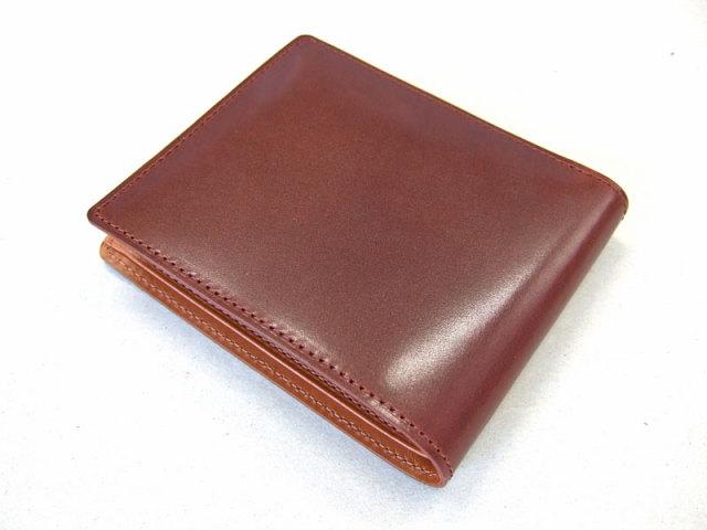 NP53227 コードバン ナチュラルグレージング 二つ折り財布(小銭入れなし)  「プレリーギンザ」 チョコ 裏面