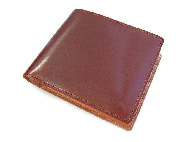 NP53227 コードバン ナチュラルグレージング 二つ折り財布(小銭入れなし)  「プレリーギンザ」 チョコ 正面
