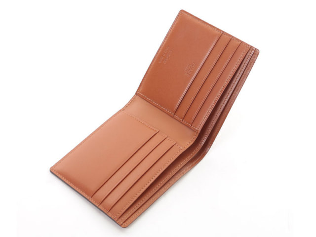 NP53227 コードバン ナチュラルグレージング 二つ折り財布(小銭入れなし)  「プレリーギンザ」 チョコ 内作り