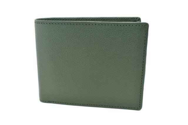 KOBE LEATHER(神戸レザー) 二つ折り財布(小銭入れあり)「プレリーギンザ」 NP55115 グリーン 正面