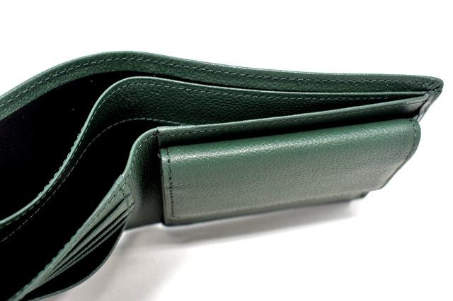 KOBE LEATHER(神戸レザー) 二つ折り財布(小銭入れあり)「プレリーギンザ」 NP55115 グリーン 内作り