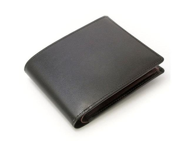 ボックスカーフヴェネチアン 二つ折り財布(小銭入れあり) 「プレリーギンザ」 NP56118 クロ 正面