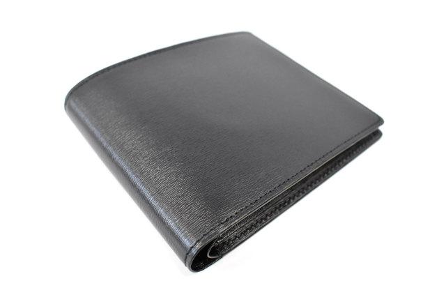 ボックスカーフ ヴェネチアンレザー 二つ折り財布(小銭入れなし)  「プレリーギンザ」 NP56216 クロ/クロ 正面