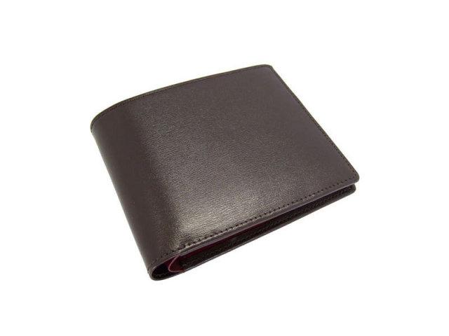 ボックスカーフヴェネチアン 二つ折り財布(小銭入れなし) 「プレリーギンザ」 NP56216 チョコ 正面