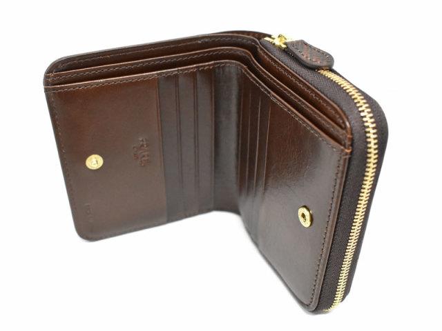 Patine2(パティーヌ2) ラウンドファスナー二つ折り財布 「プレリーギンザ」 NP78220 チョコ 内作り