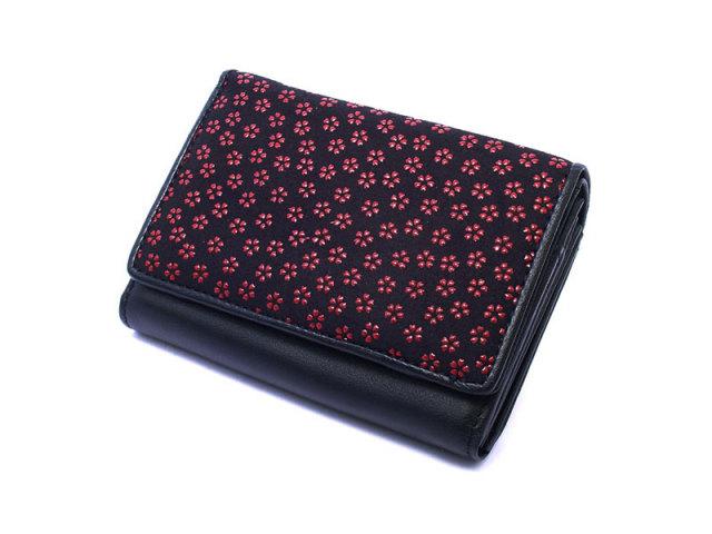 印伝 二つ折り財布(小銭入れあり) 「ル・プレリー 」  NPE4210 クロ/アカ 正面