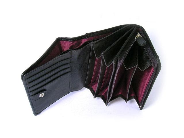 印伝 二つ折り財布(小銭入れあり) 「ル・プレリー 」  NPE4210 クロ/アカ 内作り
