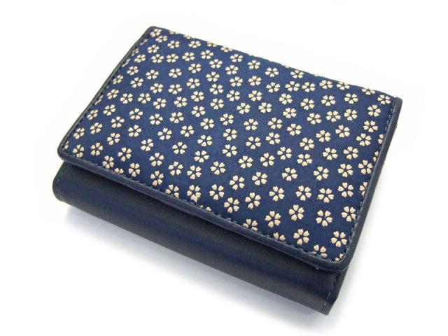 印伝 二つ折り財布(小銭入れあり) 「ル・プレリー 」  NPE4210 コン/シロ 正面