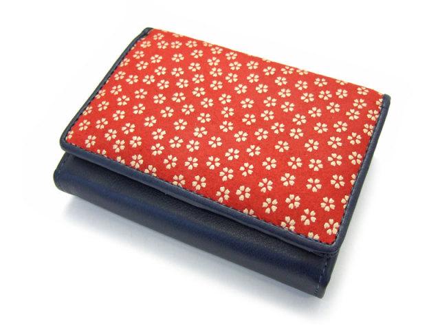 印伝 二つ折り財布(小銭入れあり) 「ル・プレリー 」  NPE4210 アカ/シロ 正面