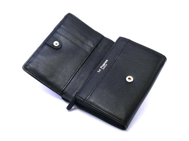 印伝 トンボ柄 二つ折り財布(小銭入れあり) 「ル・プレリー 」  NPE5210 クロ/アカ 内作り
