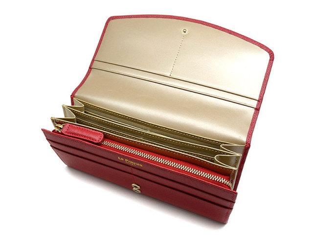 Bijue(ビジュー) 長財布(小銭入れあり) 「ル・プレリー 」 NPL1013 アカ 内作り