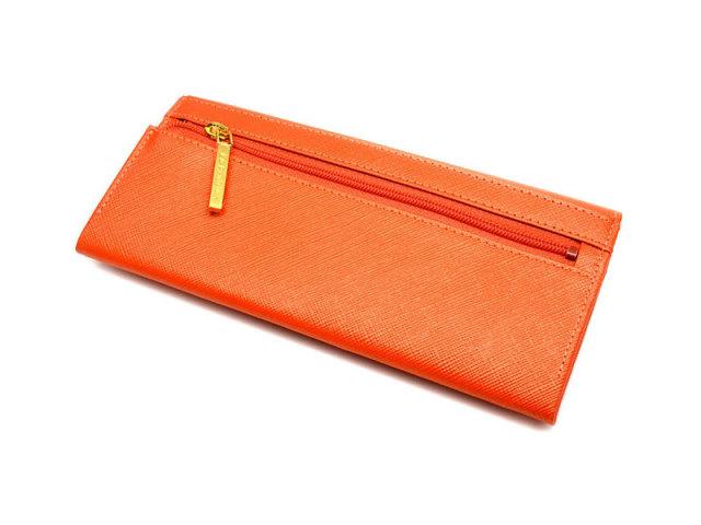 Bijue(ビジュー) コンパクト長財布(小銭入れあり) 「ル・プレリー 」 NPL1195 オレンジ 裏面