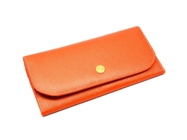 Bijue(ビジュー) コンパクト長財布(小銭入れあり) 「ル・プレリー 」 NPL1195 オレンジ 正面