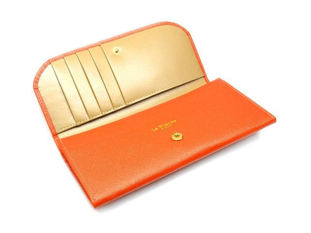 Bijue(ビジュー) コンパクト長財布(小銭入れあり) 「ル・プレリー 」 NPL1195 オレンジ 内作り