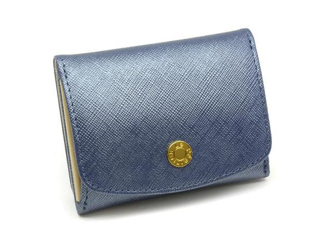 NPL1385 Bijue(ビジュー) 三つ折り財布(小銭入れあり) 「ル・プレリー 」  ネイビー 正面