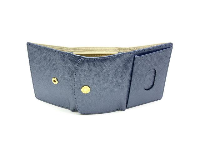 NPL1385 Bijue(ビジュー) 三つ折り財布(小銭入れあり) 「ル・プレリー 」  ネイビー 特徴
