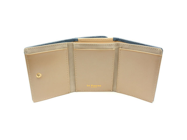 NPL1385 Bijue(ビジュー) 三つ折り財布(小銭入れあり) 「ル・プレリー 」  ネイビー 内作り