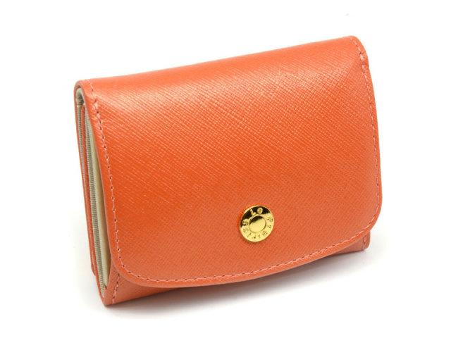 NPL1385 Bijue(ビジュー) 三つ折り財布(小銭入れあり) 「ル・プレリー 」  オレンジ 正面