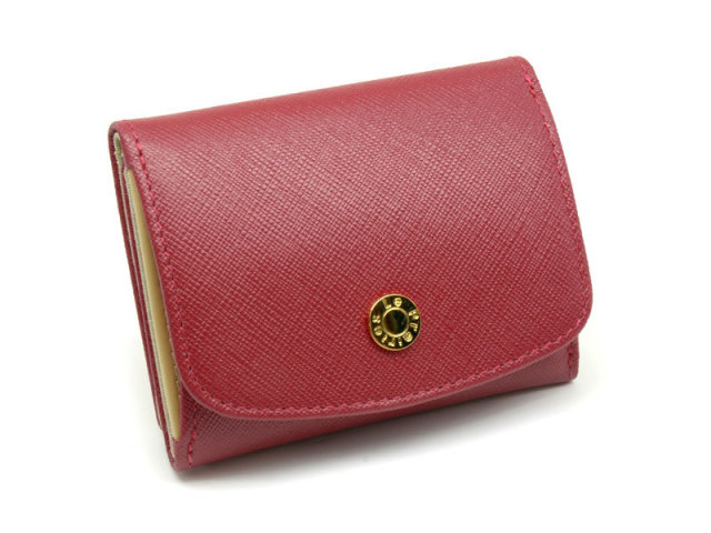 NPL1385 Bijue(ビジュー) 三つ折り財布(小銭入れあり) 「ル・プレリー 」  アカ 正面