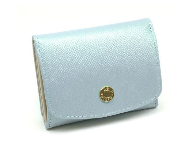 NPL1385 Bijue(ビジュー) 三つ折り財布(小銭入れあり) 「ル・プレリー 」  サックス 正面