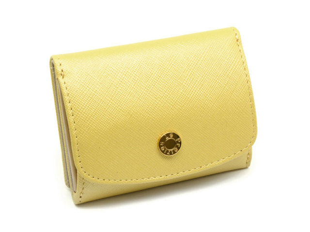 NPL1385 Bijue(ビジュー) 三つ折り財布(小銭入れあり) 「ル・プレリー 」  イエロー 正面