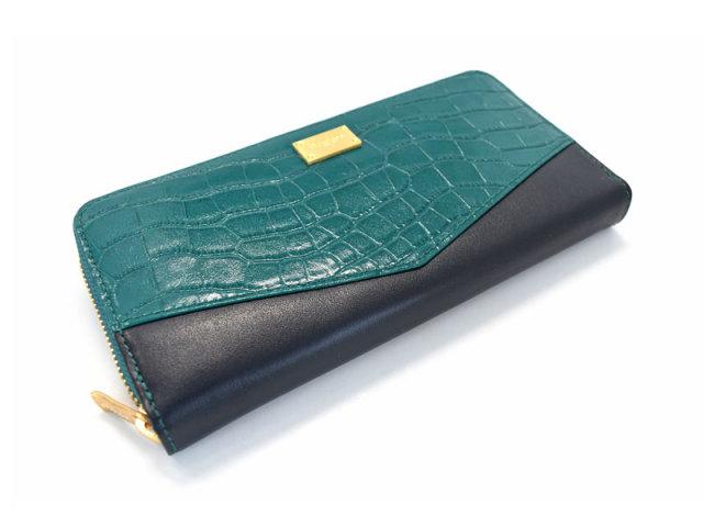 Fascino(ファッシノ) L字ファスナー長財布 「ル・プレリーギンザ 」 NPL3114 グリーン 正面