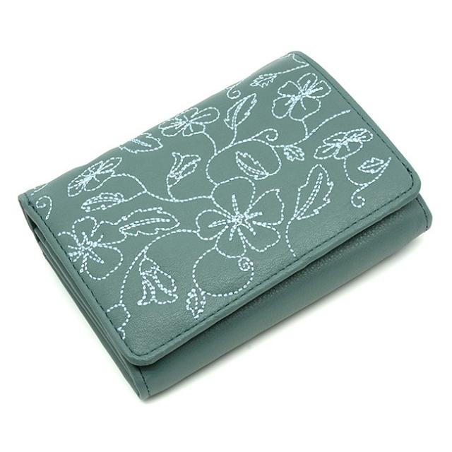 Broderie(ブロドゥリー) 二つ折り財布 「ル・プレリー」 NPL3312 ブルー 正面
