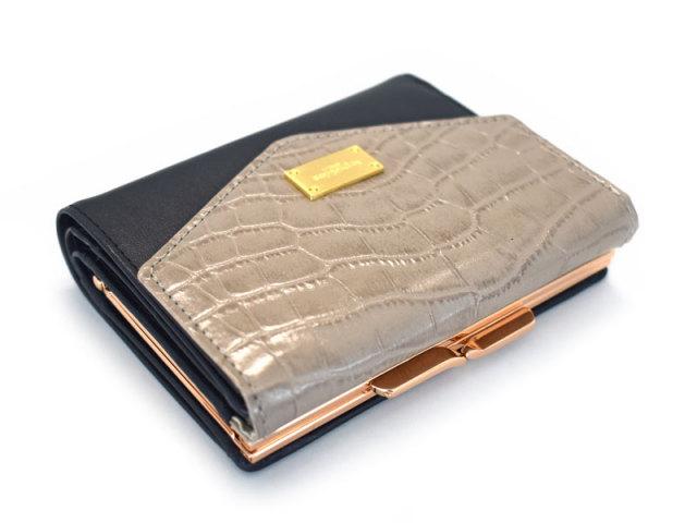 Fascino(ファッシノ) がま口二つ折り財布(小銭入れあり) 「ル・プレリーギンザ 」 NPL3314 グレー 正面
