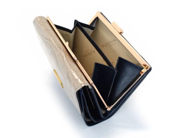 Fascino(ファッシノ) がま口二つ折り財布(小銭入れあり) 「ル・プレリーギンザ 」 NPL3314 グレー 内作り