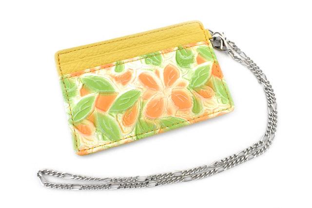 プリムラ チェーン付きパスケース 「ル・プレリーギンザ」 NPL4345 オレンジ 正面