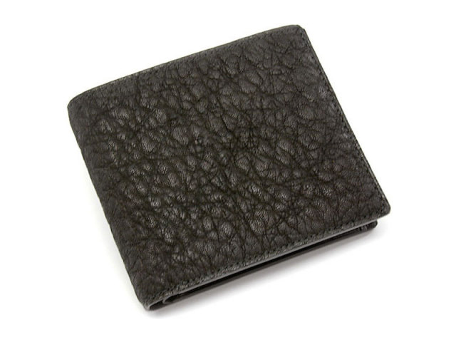 GINZAエレファント 二つ折り財布(小銭入れあり) 「プレリーギンザ」 NPM1235 クロ 正面