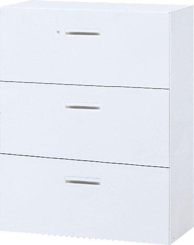 内田洋行 ハイパーストレージ スタンダードタイプ ラテラルキャビネット(一括施錠) HS800 LA-10(C) 3段 W800×D450×H1050