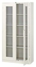 内田洋行 両開き書庫 3×6型 ガラス戸 棚板4枚 W880×D380×H1790mm