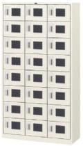 内田洋行 シューズロッカー 3列8段24人用 鍵付き・中棚板なし W900×D380×H1669mm