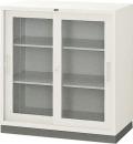 内田洋行 引違い書庫 3×3型ガラス戸 JIS3号 棚板2枚 W880×D400×H880mm