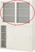 内田洋行 引違い書庫 4×3型 ガラス戸 棚板2枚 W1200×D400×H880mm
