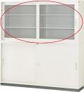 内田洋行 引違い書庫 6×3型 ガラス戸 JIS4号 棚板4枚 W1760×D400×H880mm