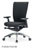 アイコ オフィスチェア R-5535(FG3) 布張りミドルバック アルミ脚 肘付タイプ