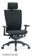 アイコ オフィスチェア R-5555(FG3) 布張りハイバック 樹脂脚 肘付タイプ