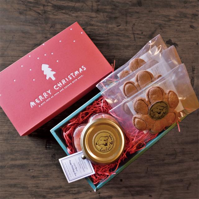 かわいいハート形のビンに入ったジャムとドイツの伝統菓子レープクーヘンのクリスマスボックスセット