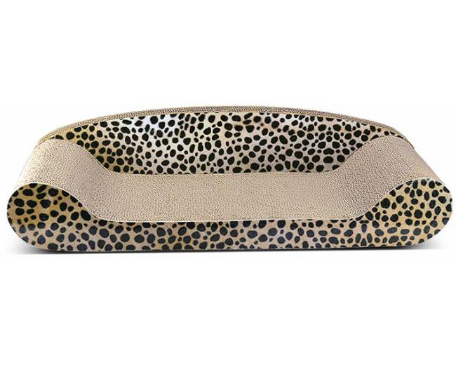 猫 爪とぎ ダンボール ベッド型 おしゃれなチーター柄 段ボール製爪とぎ