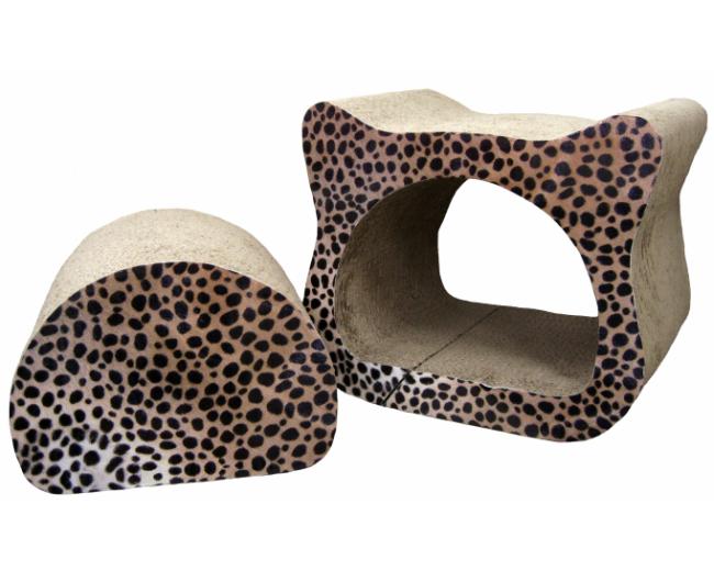 猫 爪とぎ ダンボール 猫ちゃん顔が可愛い おしゃれなチーター柄 段ボール製爪とぎ