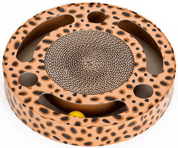 猫 爪とぎ ダンボール サークルデザイン おしゃれなヒョウ柄 段ボール製爪とぎ