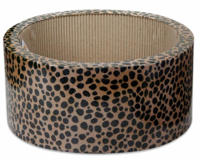 猫 爪とぎ ダンボール サークルデザイン おしゃれなチーター柄 段ボール製爪とぎ