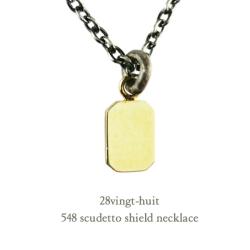 ヴァンユイット 548 スクデット シールド 盾 ネックレス 18金 シルバー メンズ,28vingt-huit Scudetto Shield Necklace K18 Silver Mens