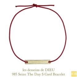 レデッサンドゥデュー 985 セイズザデイ 今を楽しもう 紐ブレスレット 18金,Dieu Seize The Day Cord Bracelet K18